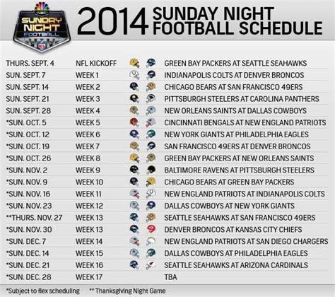 printable nfl sunday night football schedule 2014 nfl sunday night football schedule saints pinterest