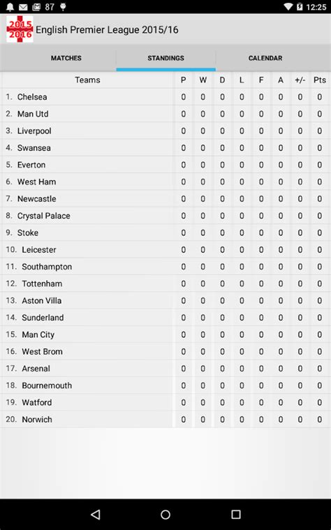 epl table google english premier league 2015 16 android apps on google play