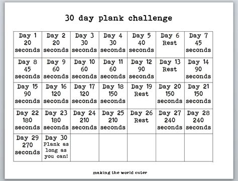 Galerry printable 28 day plank challenge