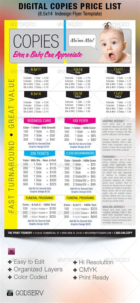 Digital Printing Price List Flyer Template By Godserv Graphicriver Price List Flyer Template