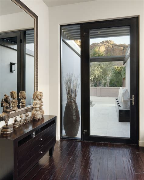 entry door with sidelights Entry Contemporary with console