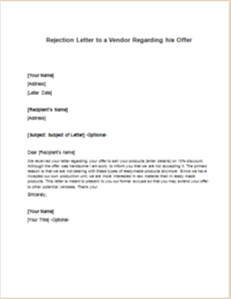 Rejection Letter To Vendor Rejection Letter To A Vendor Regarding His Offer Writeletter2