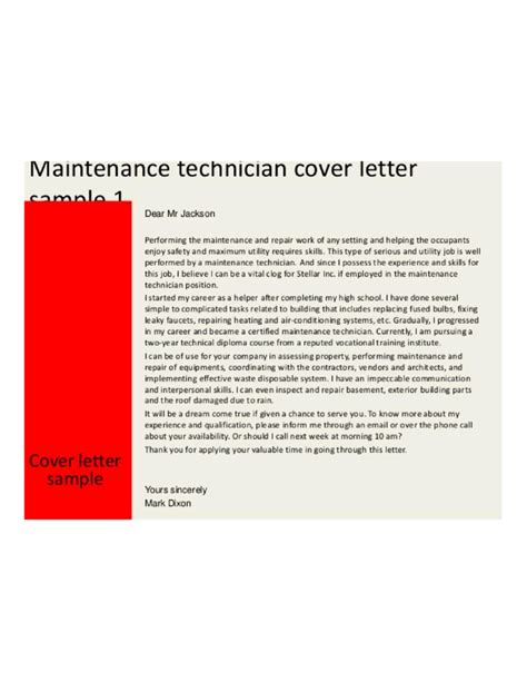 cover letter for maintenance mechanic position basic maintenance technician cover letter sles and