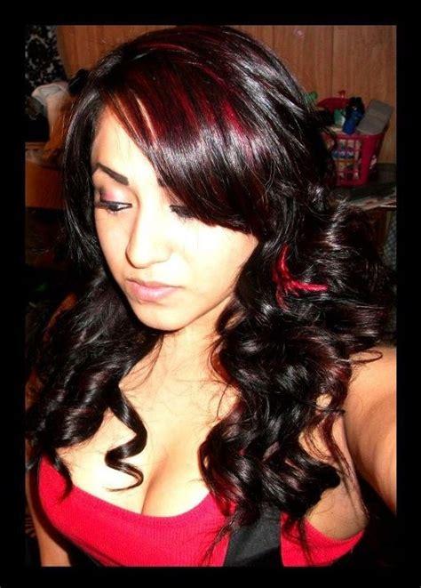 pictures of streaked black hairstyles slight red streaks on black hair new hair pinterest
