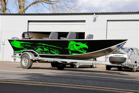 aluminum bass boat wraps canby graphics fluorescent green fishing boat wrap