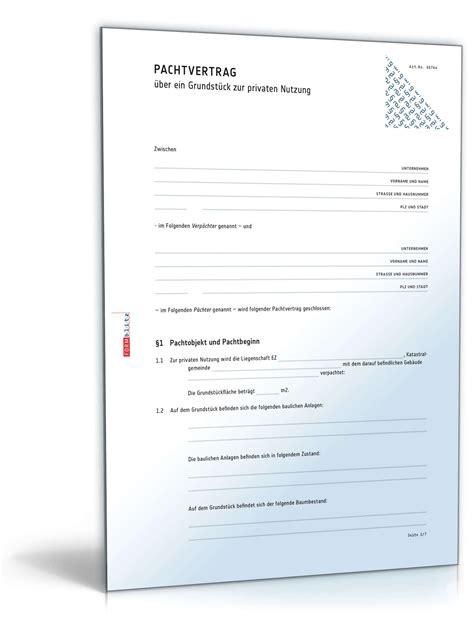 Muster Pachtvertrag Pachtvertrag Grundst 252 Ck Privatnutzung Muster Vorlage