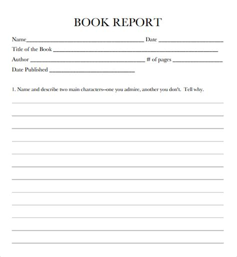 one page book report template 9 free book report templates excel pdf formats