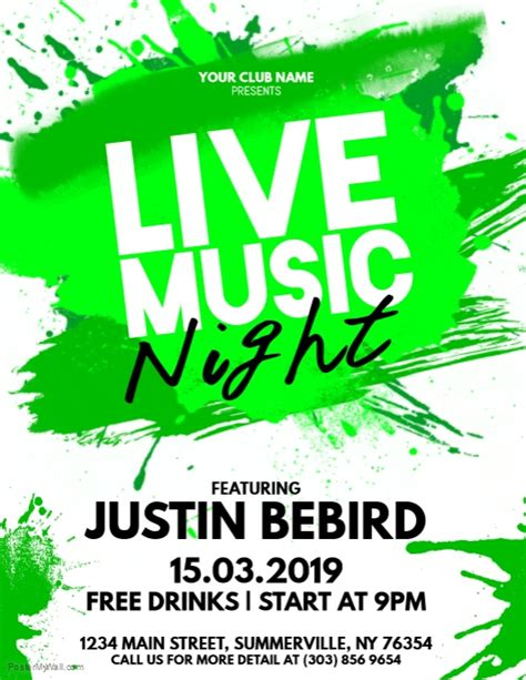 Live Music Night Flyer Template Postermywall Live Poster Template