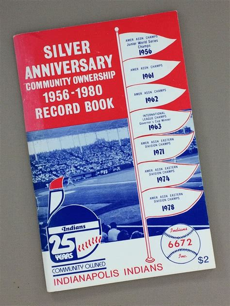 Indianapolis Records Indianapolis Indians Silver Anniversary 1956 1980 Record Book