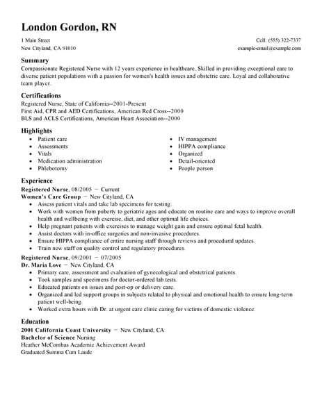 nursing job resume examples sample resumes example utilization