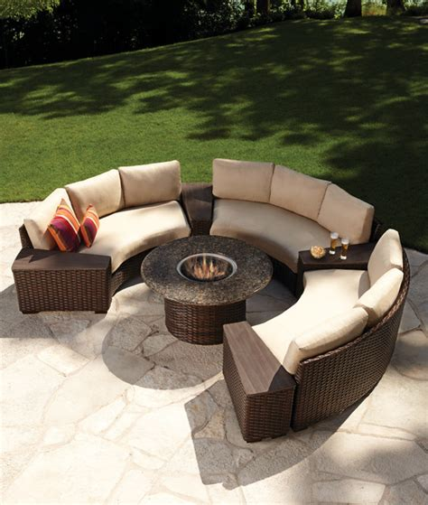Lloyd Flanders Contempo Fire Table And Curved Sectional Curved Outdoor Sofa