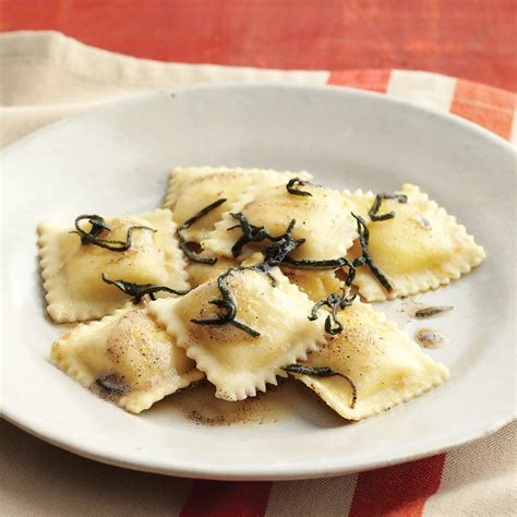 cheese ravioli with brown butter and sage