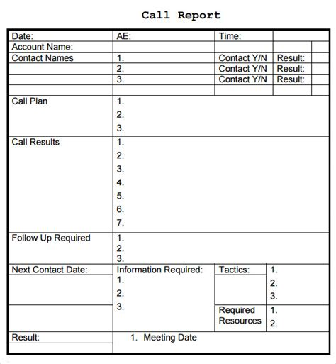 daily call report template sales report template 9 free pdf doc