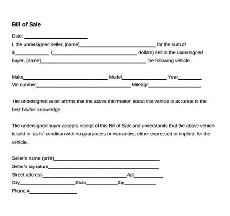 bill of sale for used car template sle car bill of sale template 6 free documents in