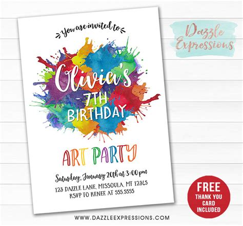 printable watercolor painting art party invitation paint