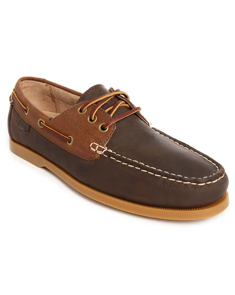 polo ralph brown leather boat shoes in brown for