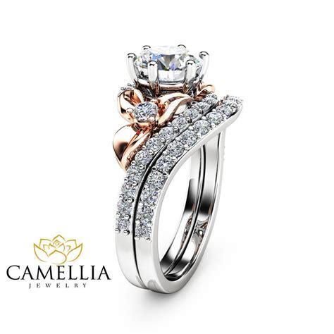 Unique Engagement Rings by Moissanite Unique Engagement Ring Set 14k Two Tone Gold