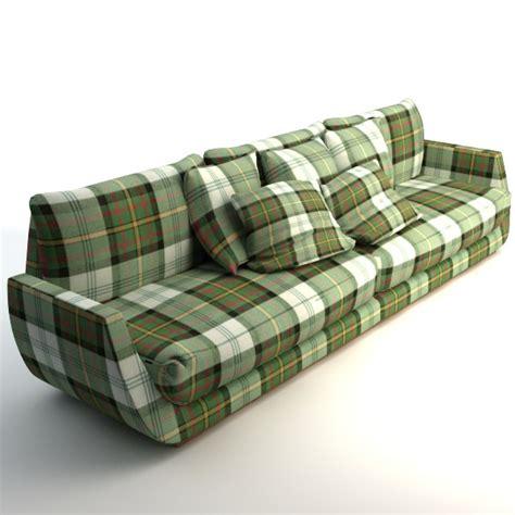 plaid couch scottish plaid sofa 3d model max obj 3ds fbx