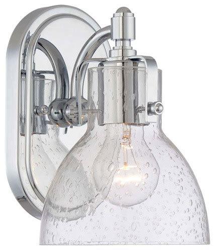clear glass bathroom lighting chrome one light bath fixture with clear seeded glass