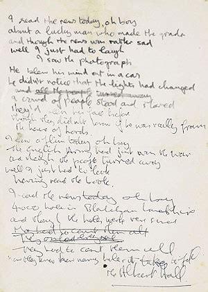 help beatles testo lennon s handwritten lyrics a day in the sells