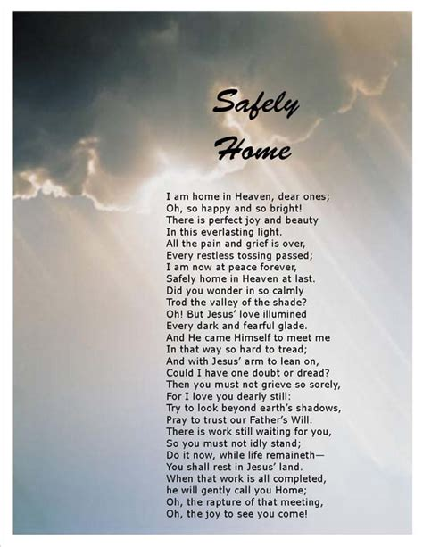 safely home poems of comfort