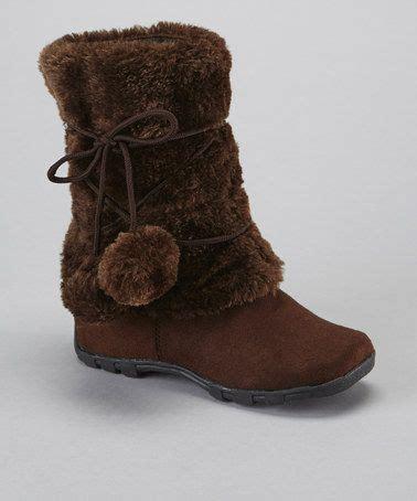 brown pom pom fuzzy boot