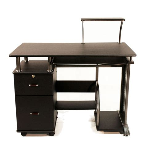 Computer Desk Shelf Wooden Computer Desk Shelf Drawer Storage Office Workstation Rolling Stand Black Ebay