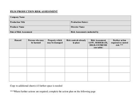 Risk Assessment Template Blank by Blank Risk Assessment