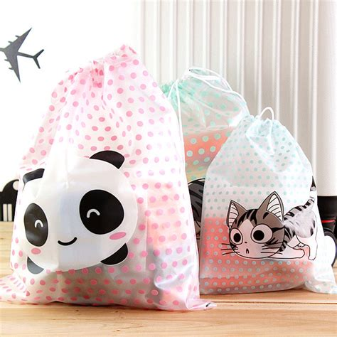 3 In 1 Cloth Organizer Polkadot travel storage bag cheese cat panda polka dot waterproof clothing drawstring bag storage