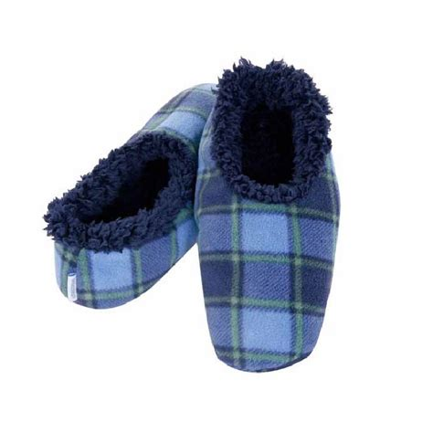 snoozies slippers snoozies mens plaid fleece lined slippers ebay