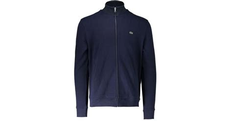 Zip Stand Collar Jacket lyst lacoste zip stand up collar jacket in blue for