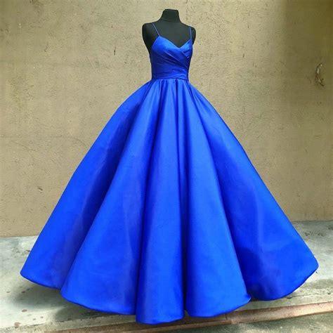 Gown Blue spaghetti straps v neck royal blue taffeta wedding dresses