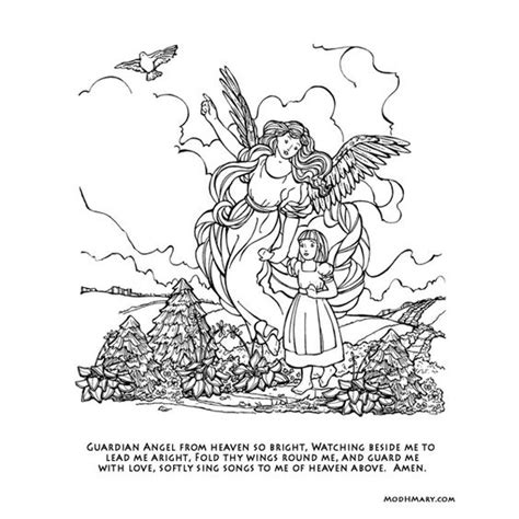 coloring pages of guardian angels catholic coloring to print of a guardian angel catholic