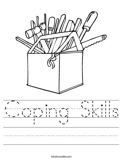 coping skills worksheet twisty noodle