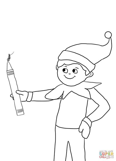printable coloring pages elf on the shelf elf on the shelf with pencil coloring page free