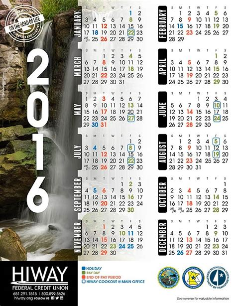 State Calendar Federal Payroll Calendar 2016 Calendar Template 2016