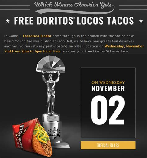 Taco Bell World Series Giveaway - free taco day today part of taco bell s steal a base steal a taco caign