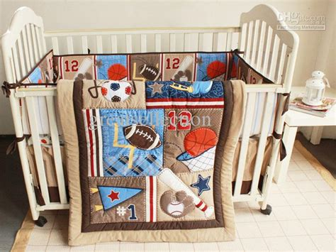 Baby Boy Crib Bedding Sports Base Sports Brown Boy Baby Cot Crib Bedding Sets Embroidered 3d Quilt Bumpers Sheet Skirt