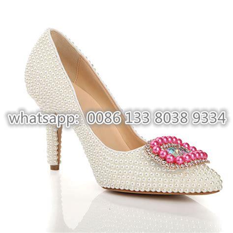 Wedges Premium Quality Big Promo Fashion Import 2 free ship white beading luxury pink high heel 8 5cm dress shoes wedding heels pumps