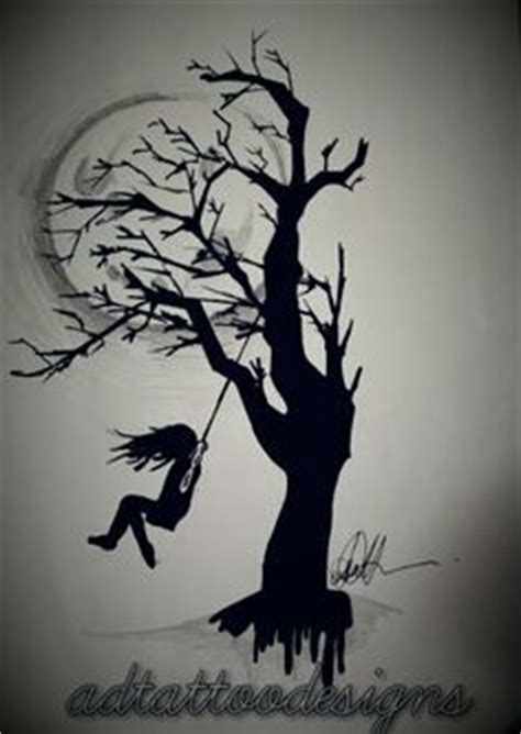 tattoo of couple hanging from tree black and grey girl on a swing with full moon and tree