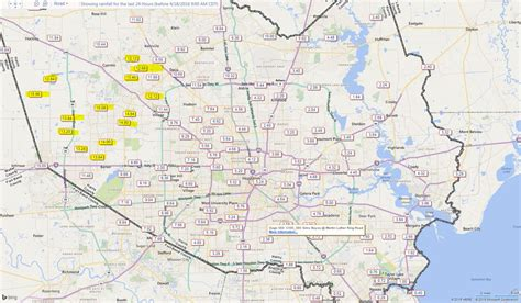 houston flood map 2016 map updated totals in houston a foot of