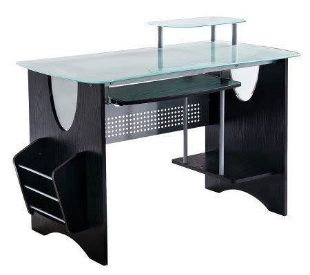 techni mobili multifunction computer desk espresso techni mobili multifunction glass top computerdesk qvc com