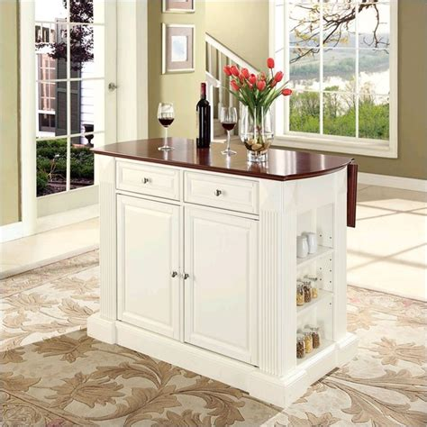 White Kitchen Island With Breakfast Bar Crosley Coventry Kitchen Island Breakfast Bar In White