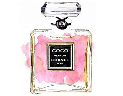 Parfum Chanel Pink coco perfume print from watercolor painting chanel pink
