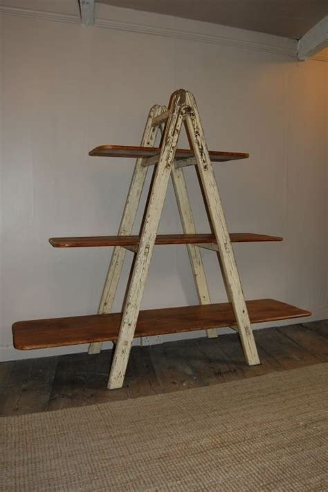 antique industrial ladder shelf bookshelf 56527