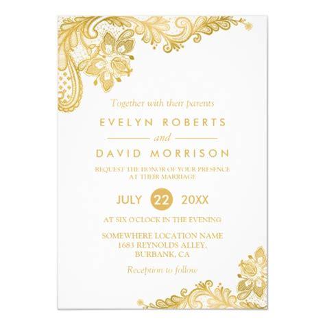 White And Gold Invitation Templates Elegant White Gold Lace Pattern Formal Wedding Invitation Zazzle Com