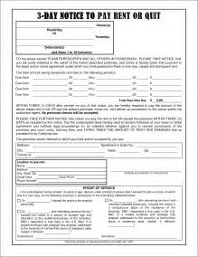 notice to pay rent or quit template 3 day notice to pay or quit template slenotary