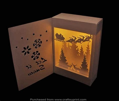 Shadow Box Lantern Let It Snow Cup716991 66824 Craftsuprint Shadow Box Template