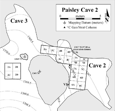 texas caves map 3 map of paisley cave 2 excavations after jenkins et al 2012b