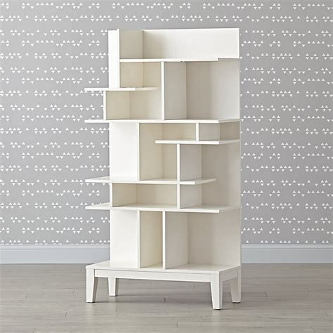 land of nod bookcase tall white modern geometric bookcase the land of nod